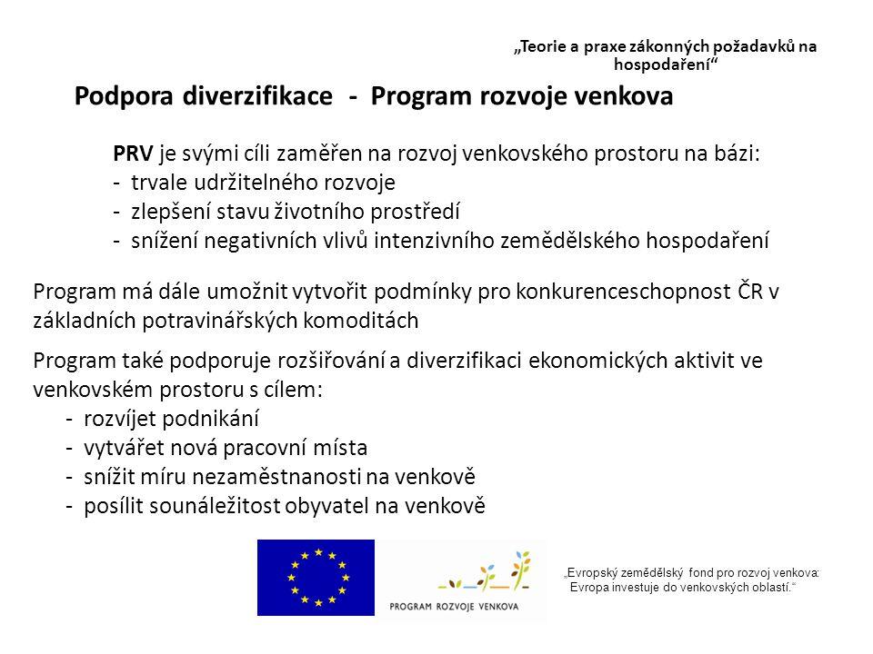 """""""Evropský zemědělský fond pro rozvoj venkova: Evropa investuje do venkovských oblastí. Podpora diverzifikace - Program rozvoje venkova PRV je svými cíli zaměřen na rozvoj venkovského prostoru na bázi: - trvale udržitelného rozvoje - zlepšení stavu životního prostředí - snížení negativních vlivů intenzivního zemědělského hospodaření Program má dále umožnit vytvořit podmínky pro konkurenceschopnost ČR v základních potravinářských komoditách Program také podporuje rozšiřování a diverzifikaci ekonomických aktivit ve venkovském prostoru s cílem: - rozvíjet podnikání - vytvářet nová pracovní místa - snížit míru nezaměstnanosti na venkově - posílit sounáležitost obyvatel na venkově """"Teorie a praxe zákonných požadavků na hospodaření"""
