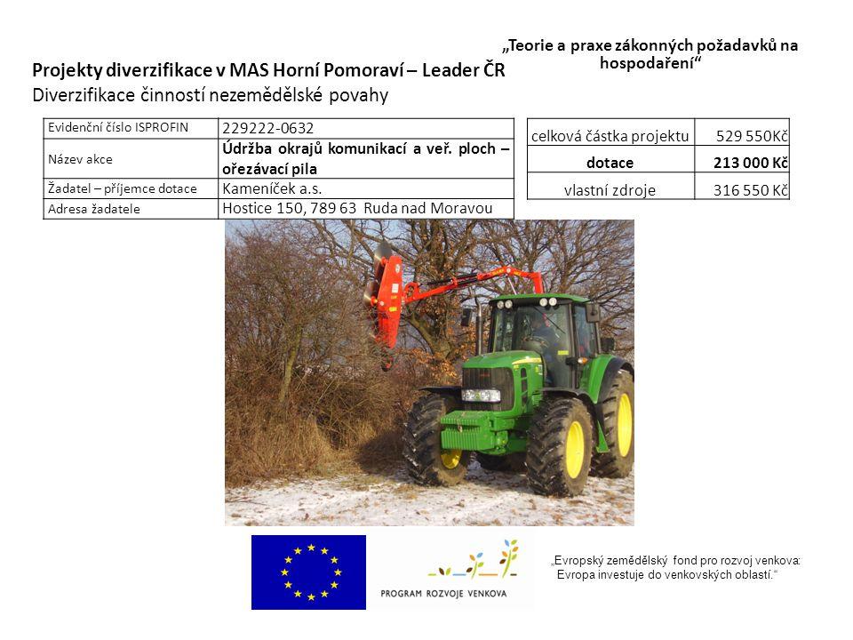 """""""Evropský zemědělský fond pro rozvoj venkova: Evropa investuje do venkovských oblastí. """"Teorie a praxe zákonných požadavků na hospodaření"""