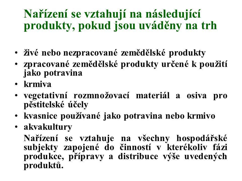 Nařízení se vztahují na následující produkty, pokud jsou uváděny na trh živé nebo nezpracované zemědělské produkty zpracované zemědělské produkty urče