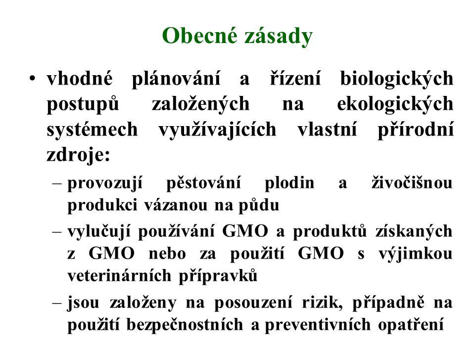 Obecné zásady vhodné plánování a řízení biologických postupů založených na ekologických systémech využívajících vlastní přírodní zdroje: –provozují pě