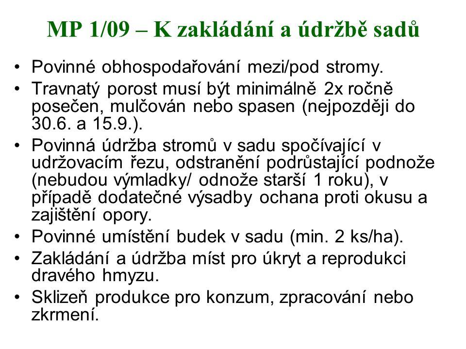 MP 1/09 – K zakládání a údržbě sadů Povinné obhospodařování mezi/pod stromy. Travnatý porost musí být minimálně 2x ročně posečen, mulčován nebo spasen