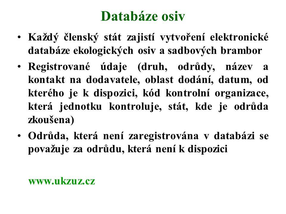 Databáze osiv Každý členský stát zajistí vytvoření elektronické databáze ekologických osiv a sadbových brambor Registrované údaje (druh, odrůdy, název
