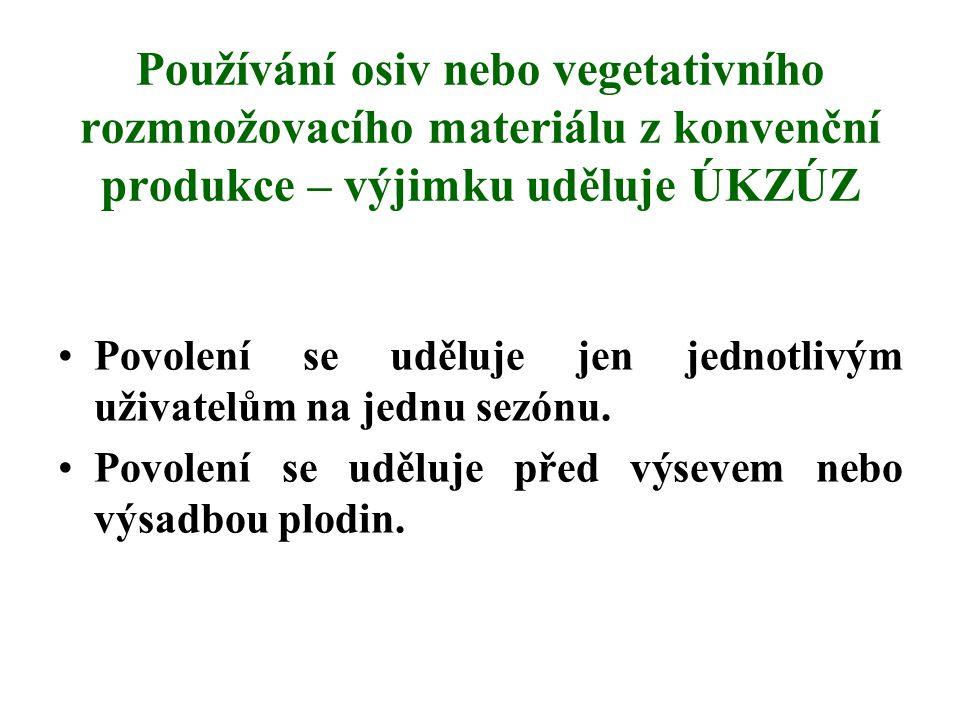 Používání osiv nebo vegetativního rozmnožovacího materiálu z konvenční produkce – výjimku uděluje ÚKZÚZ Povolení se uděluje jen jednotlivým uživatelům