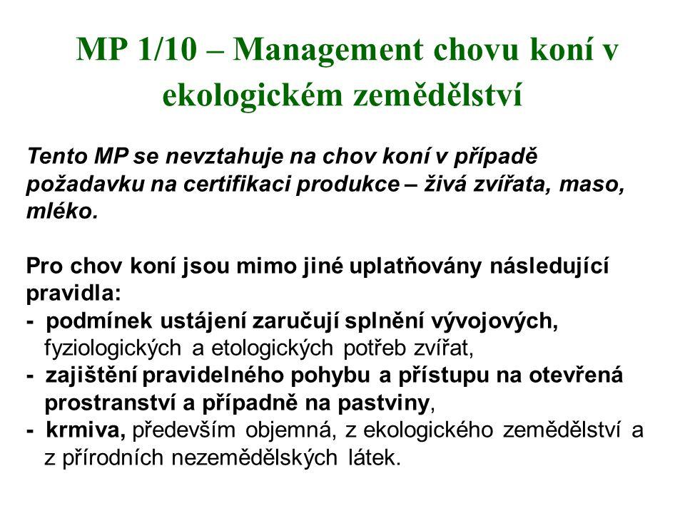 MP 1/10 – Management chovu koní v ekologickém zemědělství Tento MP se nevztahuje na chov koní v případě požadavku na certifikaci produkce – živá zvířa