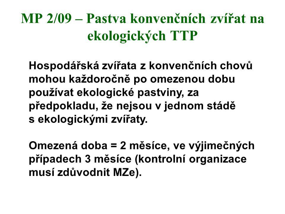 MP 2/09 – Pastva konvenčních zvířat na ekologických TTP Hospodářská zvířata z konvenčních chovů mohou každoročně po omezenou dobu používat ekologické