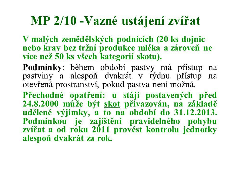 MP 2/10 -Vazné ustájení zvířat V malých zemědělských podnicích (20 ks dojnic nebo krav bez tržní produkce mléka a zároveň ne více než 50 ks všech kate