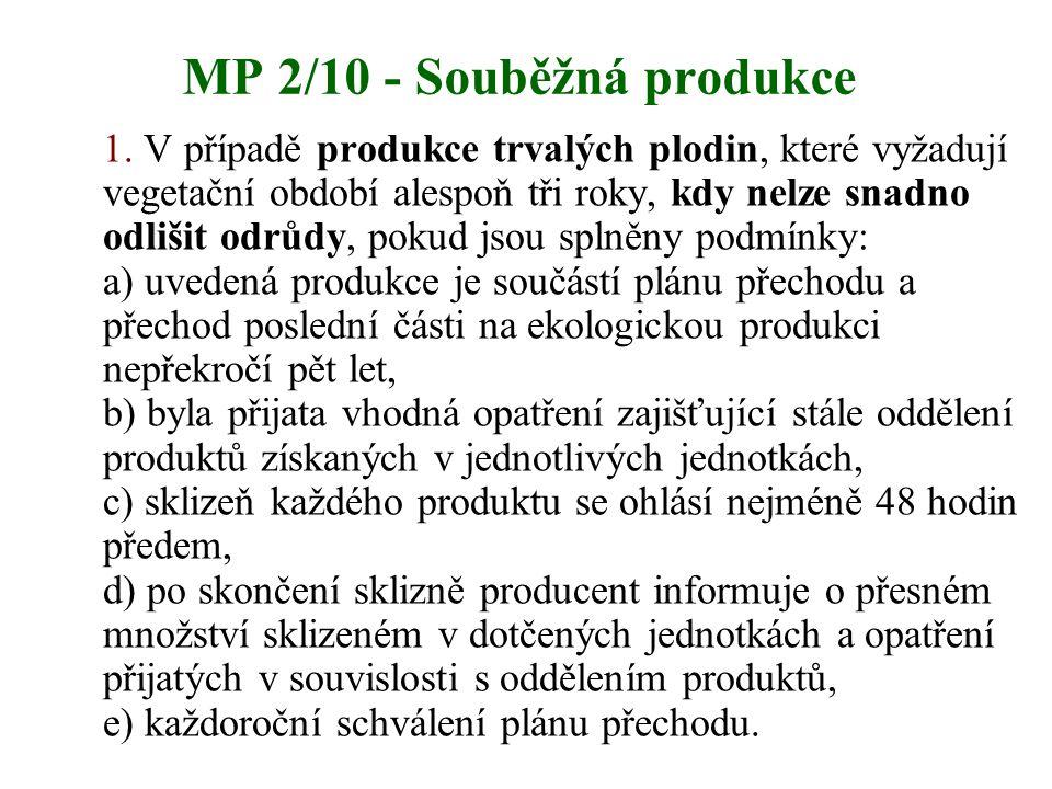 MP 2/10 - Souběžná produkce 1. V případě produkce trvalých plodin, které vyžadují vegetační období alespoň tři roky, kdy nelze snadno odlišit odrůdy,