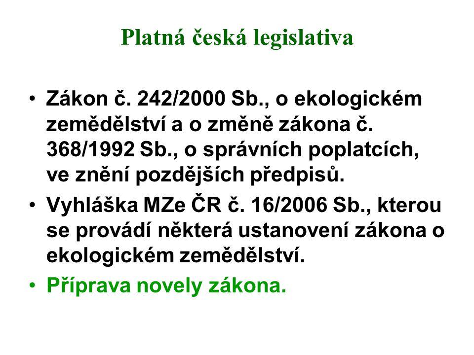Platná česká legislativa Zákon č. 242/2000 Sb., o ekologickém zemědělství a o změně zákona č. 368/1992 Sb., o správních poplatcích, ve znění pozdějšíc