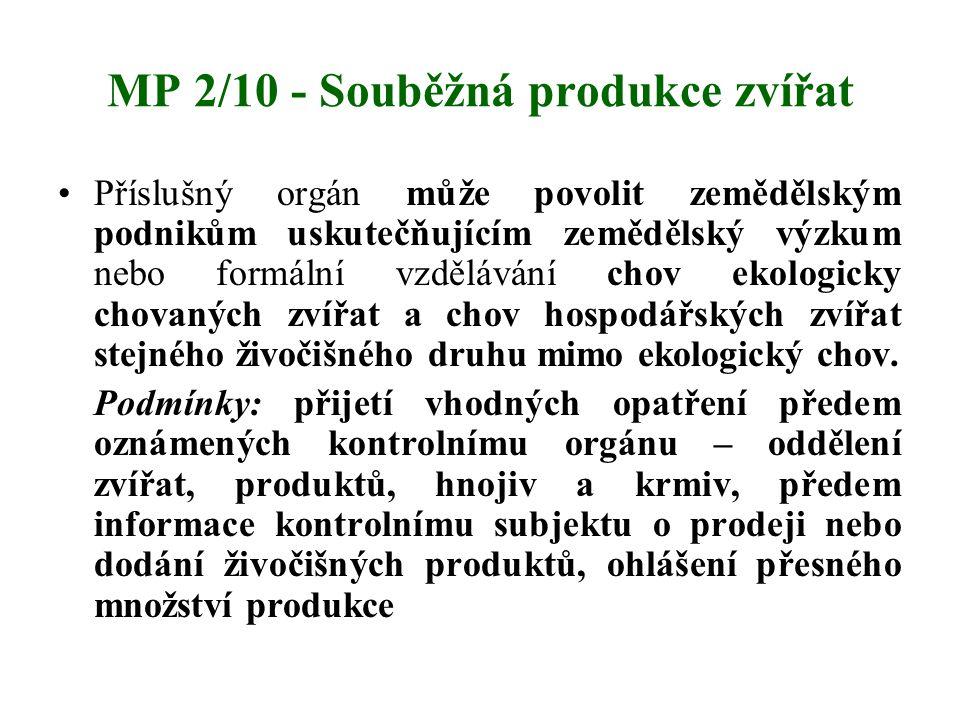 MP 2/10 - Souběžná produkce zvířat Příslušný orgán může povolit zemědělským podnikům uskutečňujícím zemědělský výzkum nebo formální vzdělávání chov ek