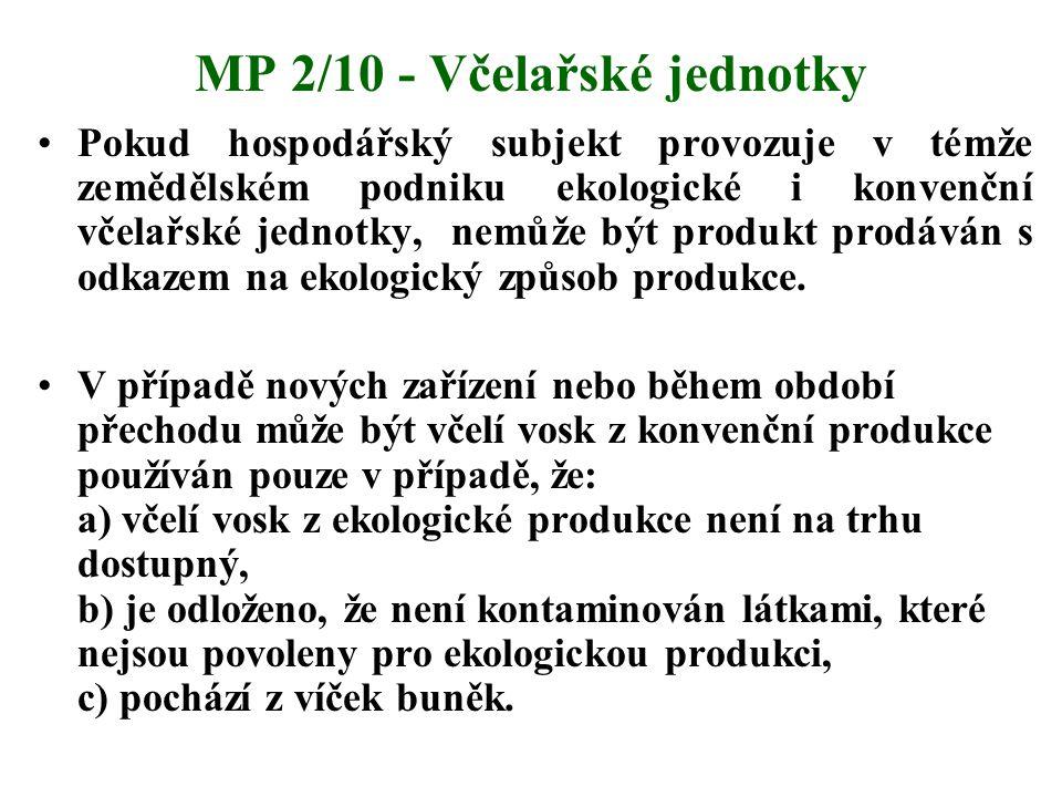MP 2/10 - Včelařské jednotky Pokud hospodářský subjekt provozuje v témže zemědělském podniku ekologické i konvenční včelařské jednotky, nemůže být pro