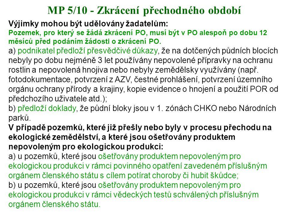 MP 5/10 - Zkrácení přechodného období Výjimky mohou být udělovány žadatelům: Pozemek, pro který se žádá zkrácení PO, musí být v PO alespoň po dobu 12