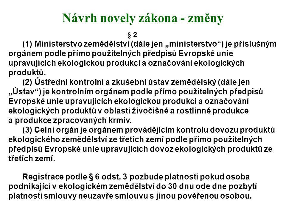 """Návrh novely zákona - změny § 2 (1) Ministerstvo zemědělství (dále jen """"ministerstvo"""") je příslušným orgánem podle přímo použitelných předpisů Evropsk"""