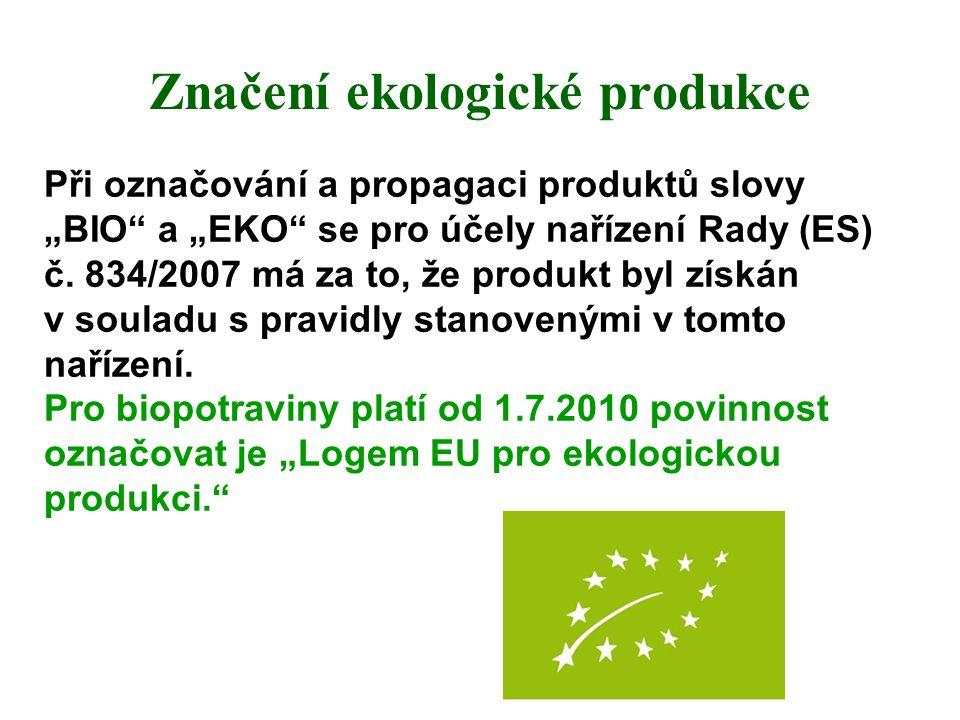 """Značení ekologické produkce Při označování a propagaci produktů slovy """"BIO"""" a """"EKO"""" se pro účely nařízení Rady (ES) č. 834/2007 má za to, že produkt b"""