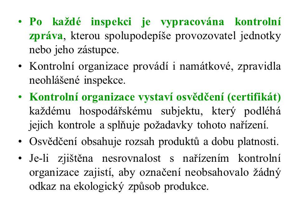 Po každé inspekci je vypracována kontrolní zpráva, kterou spolupodepíše provozovatel jednotky nebo jeho zástupce. Kontrolní organizace provádí i namát