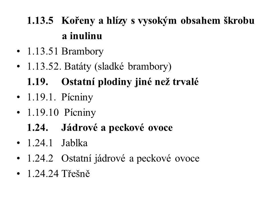 1.13.5 Kořeny a hlízy s vysokým obsahem škrobu a inulinu 1.13.51 Brambory 1.13.52. Batáty (sladké brambory) 1.19. Ostatní plodiny jiné než trvalé 1.19