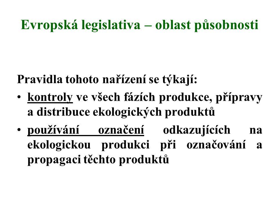 Evropská legislativa – oblast působnosti Pravidla tohoto nařízení se týkají: kontroly ve všech fázích produkce, přípravy a distribuce ekologických pro