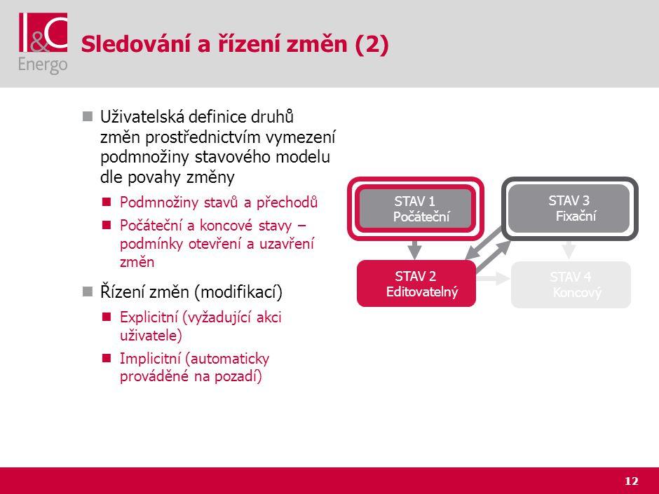 12 Sledování a řízení změn (2) Uživatelská definice druhů změn prostřednictvím vymezení podmnožiny stavového modelu dle povahy změny Podmnožiny stavů