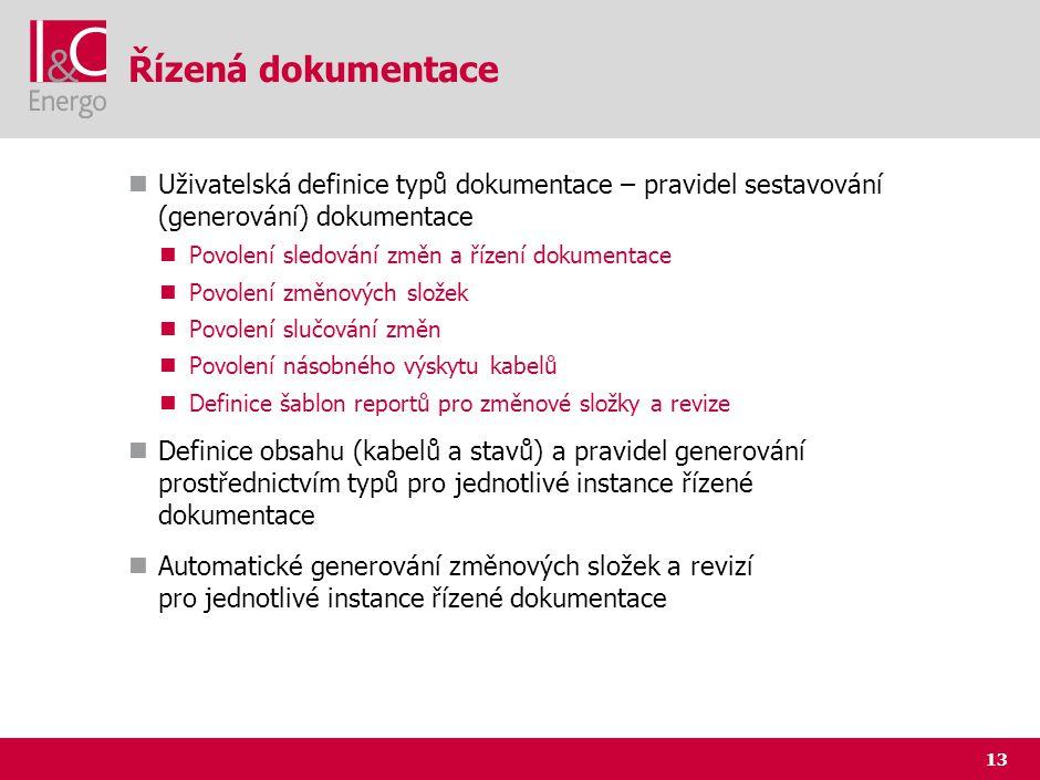 13 Řízená dokumentace Uživatelská definice typů dokumentace – pravidel sestavování (generování) dokumentace Povolení sledování změn a řízení dokumenta