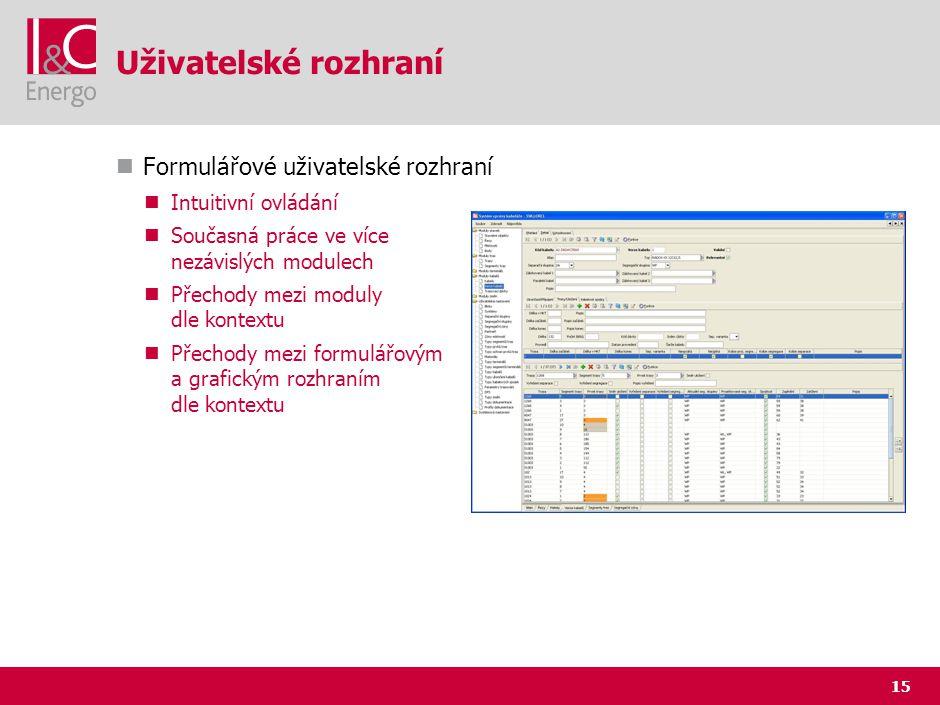 15 Uživatelské rozhraní Formulářové uživatelské rozhraní Intuitivní ovládání Současná práce ve více nezávislých modulech Přechody mezi moduly dle kont