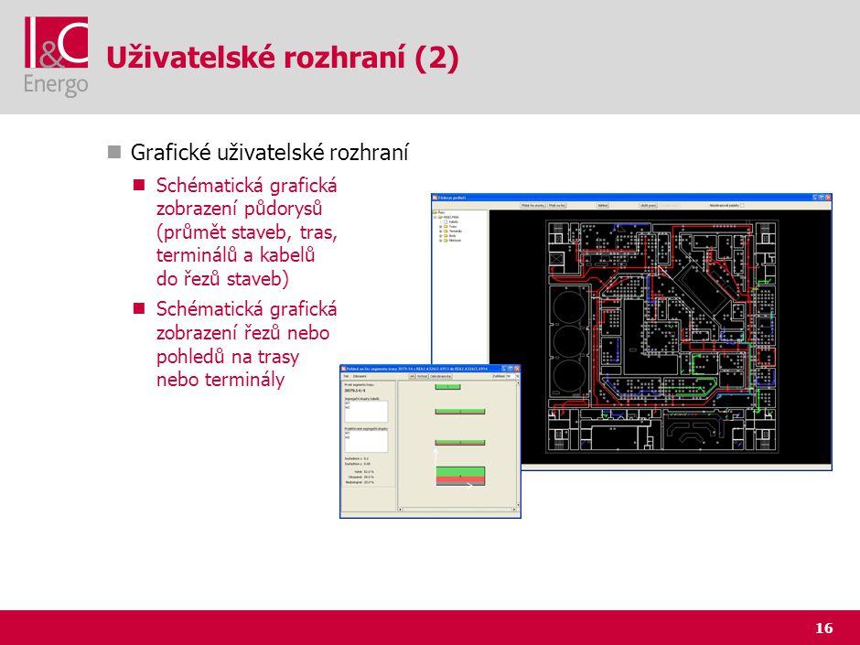 16 Uživatelské rozhraní (2) Grafické uživatelské rozhraní Schématická grafická zobrazení půdorysů (průmět staveb, tras, terminálů a kabelů do řezů sta