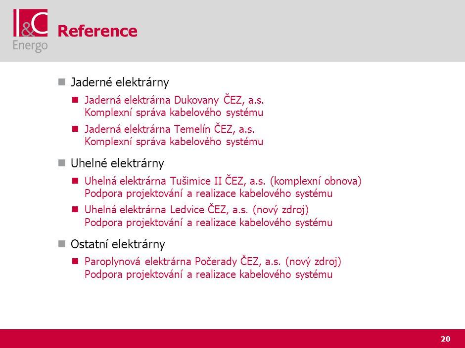 20 Reference Jaderné elektrárny Jaderná elektrárna Dukovany ČEZ, a.s. Komplexní správa kabelového systému Jaderná elektrárna Temelín ČEZ, a.s. Komplex
