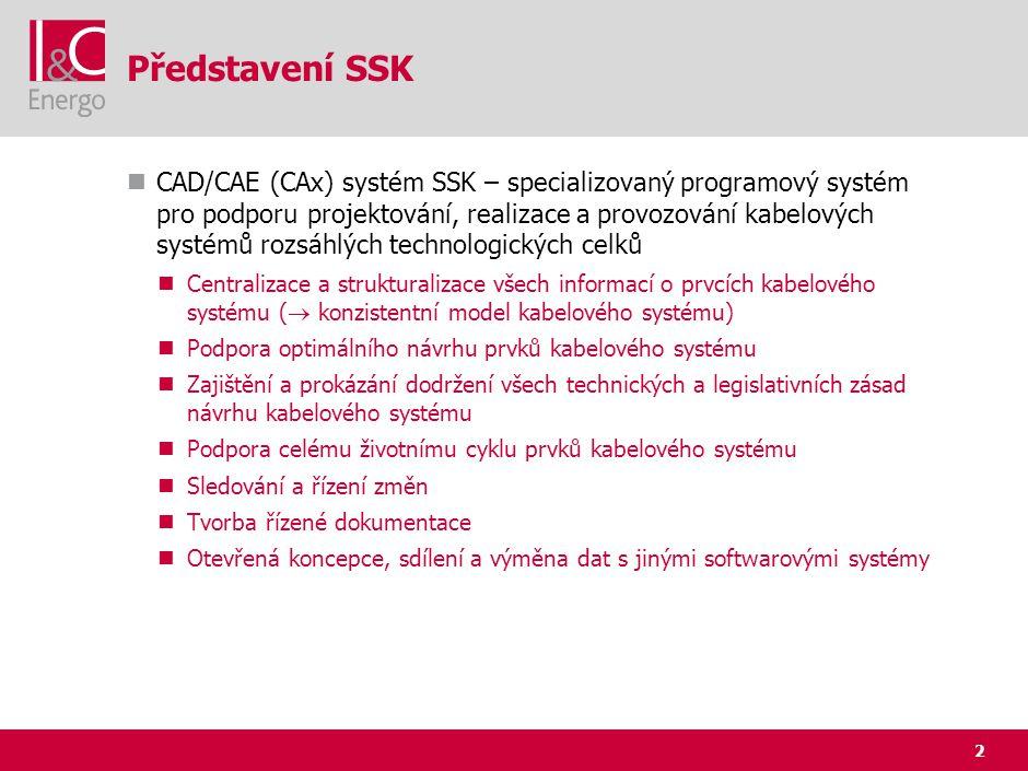 2 Představení SSK CAD/CAE (CAx) systém SSK – specializovaný programový systém pro podporu projektování, realizace a provozování kabelových systémů roz