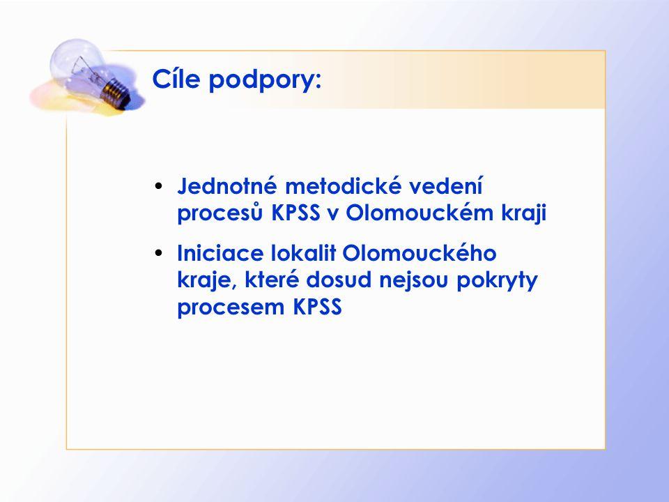 Cíle podpory: Jednotné metodické vedení procesů KPSS v Olomouckém kraji Iniciace lokalit Olomouckého kraje, které dosud nejsou pokryty procesem KPSS