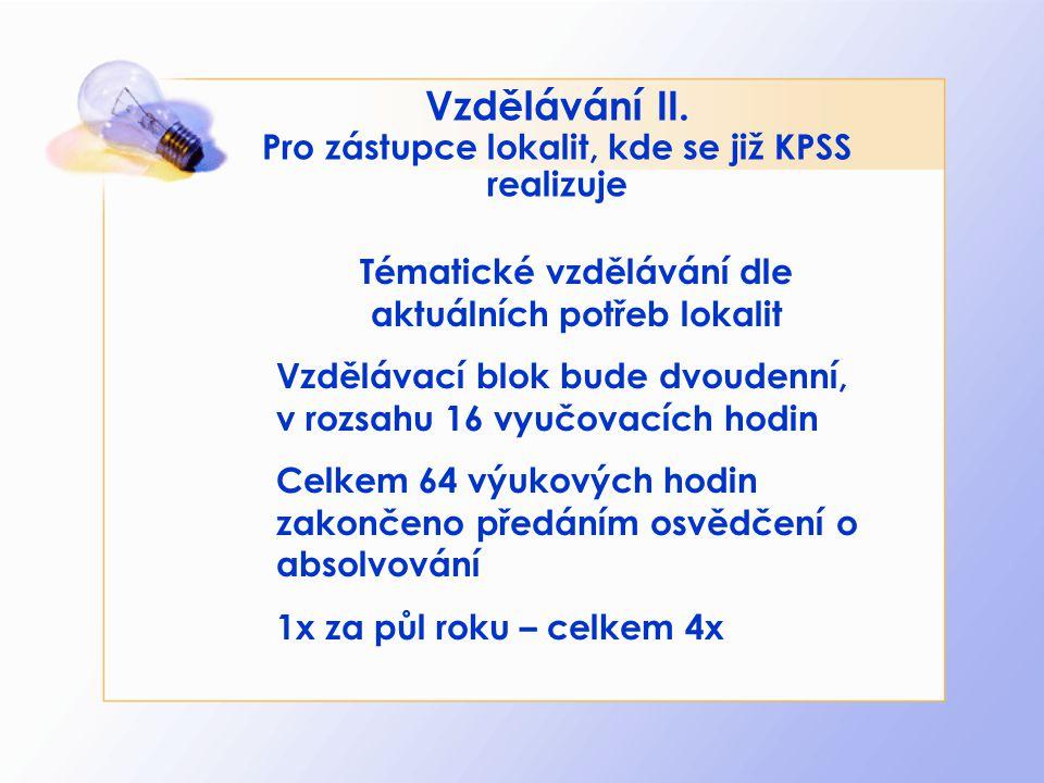 Vzdělávání II. Pro zástupce lokalit, kde se již KPSS realizuje Tématické vzdělávání dle aktuálních potřeb lokalit Vzdělávací blok bude dvoudenní, v ro