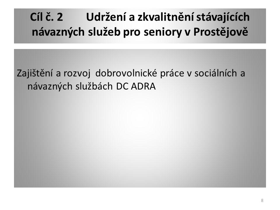 Cíl č. 2Udržení a zkvalitnění stávajících návazných služeb pro seniory v Prostějově Zajištění a rozvoj dobrovolnické práce v sociálních a návazných sl