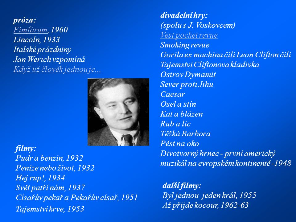 próza: FimfárumFimfárum, 1960 Lincoln, 1933 Italské prázdniny Jan Werich vzpomíná Když už člověk jednou je...