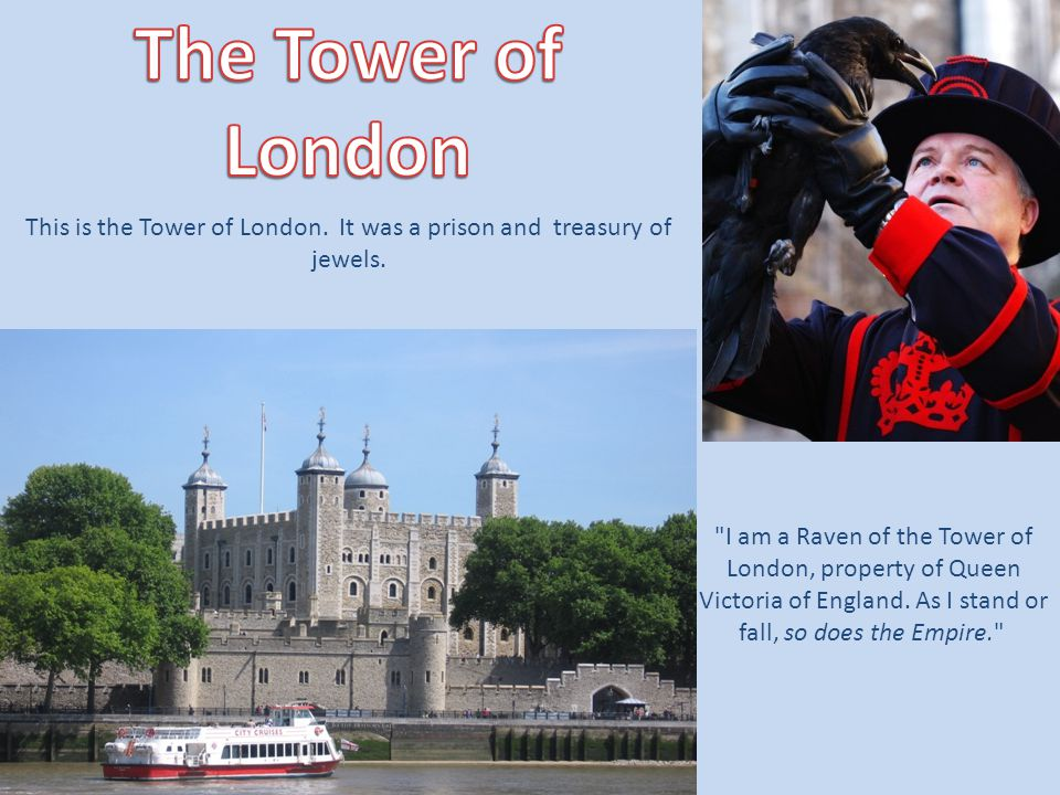 I am a Raven of the Tower of London, property of Queen Victoria of England.