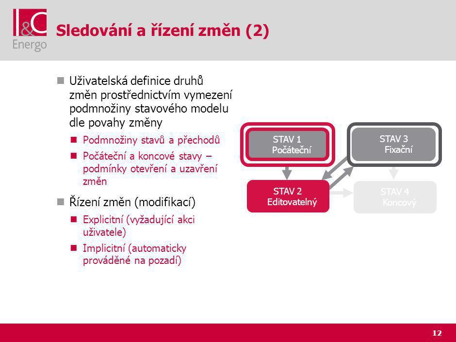 12 Sledování a řízení změn (2) Uživatelská definice druhů změn prostřednictvím vymezení podmnožiny stavového modelu dle povahy změny Podmnožiny stavů a přechodů Počáteční a koncové stavy – podmínky otevření a uzavření změn Řízení změn (modifikací) Explicitní (vyžadující akci uživatele) Implicitní (automaticky prováděné na pozadí) STAV 1 Počáteční STAV 2 Editovatelný STAV 3 Fixační STAV 4 Koncový