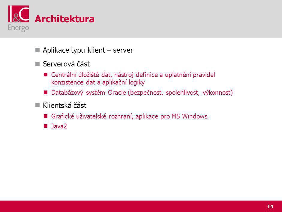14 Architektura Aplikace typu klient – server Serverová část Centrální úložiště dat, nástroj definice a uplatnění pravidel konzistence dat a aplikační logiky Databázový systém Oracle (bezpečnost, spolehlivost, výkonnost) Klientská část Grafické uživatelské rozhraní, aplikace pro MS Windows Java2