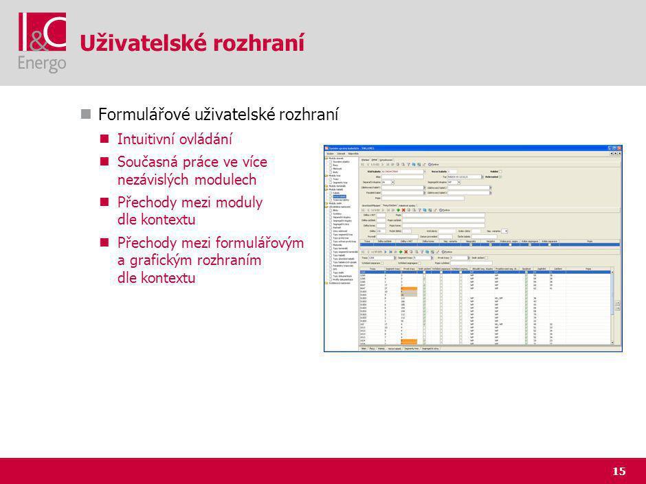 15 Uživatelské rozhraní Formulářové uživatelské rozhraní Intuitivní ovládání Současná práce ve více nezávislých modulech Přechody mezi moduly dle kontextu Přechody mezi formulářovým a grafickým rozhraním dle kontextu
