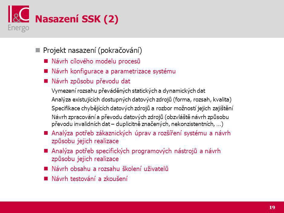 19 Nasazení SSK (2) Projekt nasazení (pokračování) Návrh cílového modelu procesů Návrh konfigurace a parametrizace systému Návrh způsobu převodu dat Vymezení rozsahu převáděných statických a dynamických dat Analýza existujících dostupných datových zdrojů (forma, rozsah, kvalita) Specifikace chybějících datových zdrojů a rozbor možností jejich zajištění Návrh zpracování a převodu datových zdrojů (obzvláště návrh způsobu převodu invalidních dat – duplicitně značených, nekonzistentních, …) Analýza potřeb zákaznických úprav a rozšíření systému a návrh způsobu jejich realizace Analýza potřeb specifických programových nástrojů a návrh způsobu jejich realizace Návrh obsahu a rozsahu školení uživatelů Návrh testování a zkoušení