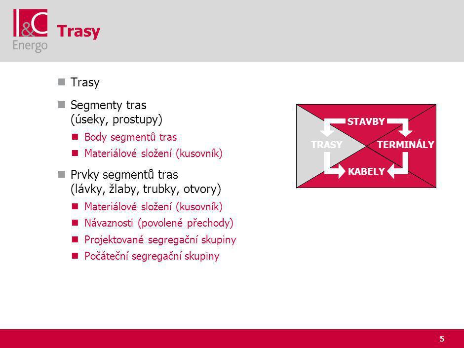 5 Trasy Segmenty tras (úseky, prostupy) Body segmentů tras Materiálové složení (kusovník) Prvky segmentů tras (lávky, žlaby, trubky, otvory) Materiálové složení (kusovník) Návaznosti (povolené přechody) Projektované segregační skupiny Počáteční segregační skupiny STAVBY TRASYTERMINÁLY KABELY