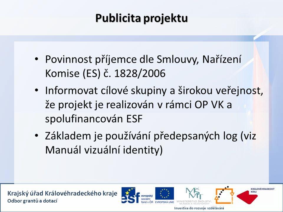 Publicita projektu Povinnost příjemce dle Smlouvy, Nařízení Komise (ES) č.
