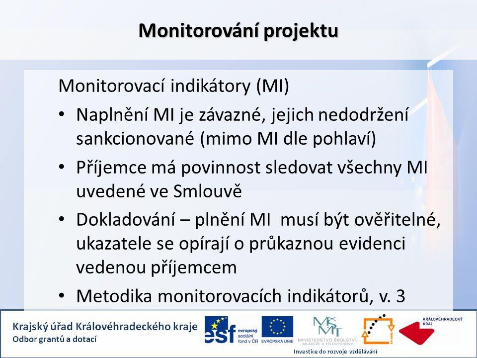 Monitorování projektu Monitorovací indikátory (MI) Naplnění MI je závazné, jejich nedodržení sankcionované (mimo MI dle pohlaví) Příjemce má povinnost sledovat všechny MI uvedené ve Smlouvě Dokladování – plnění MI musí být ověřitelné, ukazatele se opírají o průkaznou evidenci vedenou příjemcem Metodika monitorovacích indikátorů, v.