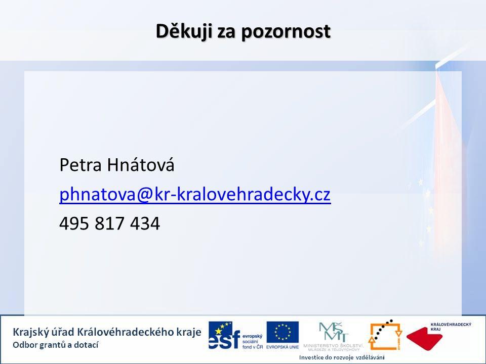 Děkuji za pozornost Petra Hnátová phnatova@kr-kralovehradecky.cz 495 817 434
