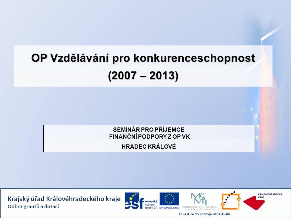 OP Vzdělávání pro konkurenceschopnost (2007 – 2013) SEMINÁŘ PRO PŘÍJEMCE FINANČNÍ PODPORY Z OP VK HRADEC KRÁLOVÉ