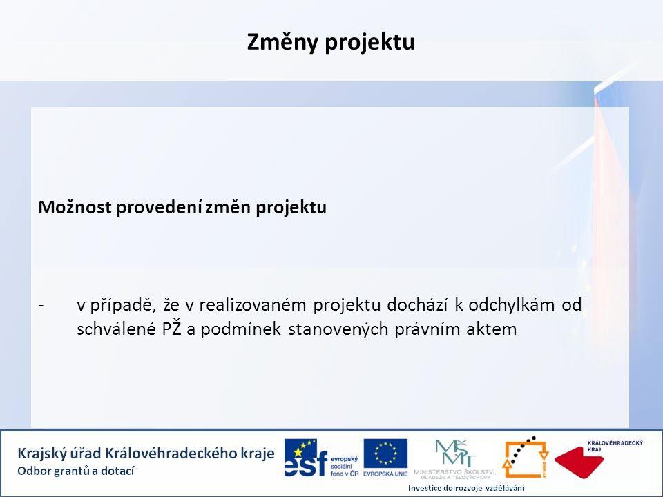 Změny projektu Možnost provedení změn projektu - v případě, že v realizovaném projektu dochází k odchylkám od schválené PŽ a podmínek stanovených právním aktem
