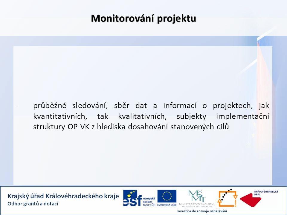 -průběžné sledování, sběr dat a informací o projektech, jak kvantitativních, tak kvalitativních, subjekty implementační struktury OP VK z hlediska dosahování stanovených cílů Monitorování projektu