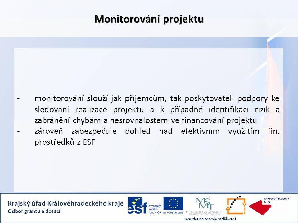 -monitorování slouží jak příjemcům, tak poskytovateli podpory ke sledování realizace projektu a k případné identifikaci rizik a zabránění chybám a nes