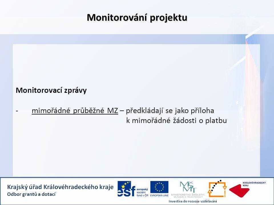 Monitorovací zprávy -mimořádné průběžné MZ – předkládají se jako příloha k mimořádné žádosti o platbu Monitorování projektu