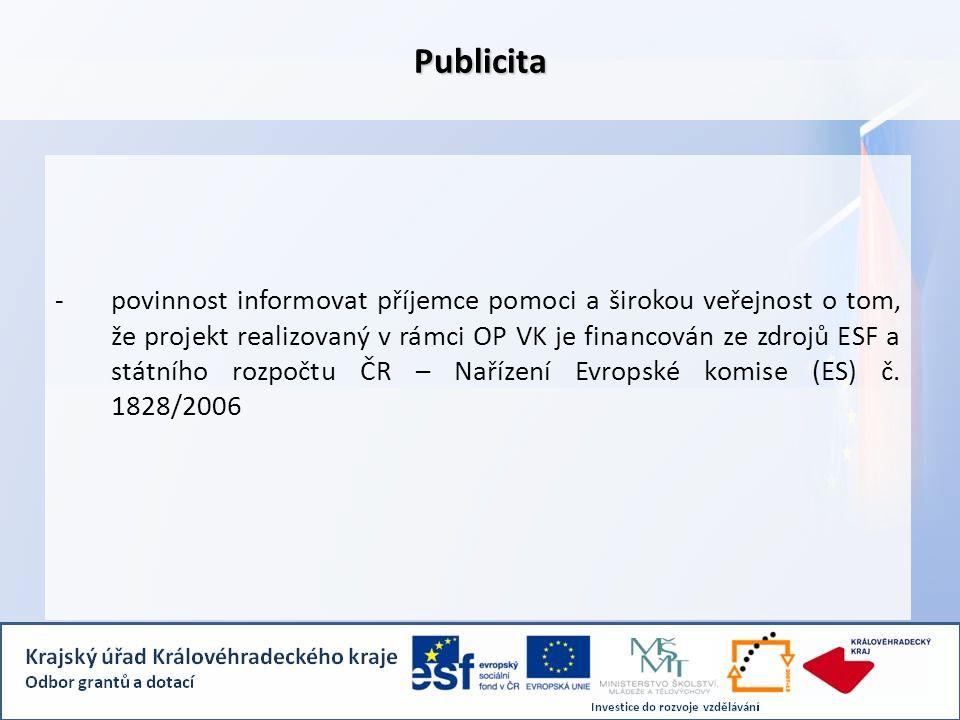 -povinnost informovat příjemce pomoci a širokou veřejnost o tom, že projekt realizovaný v rámci OP VK je financován ze zdrojů ESF a státního rozpočtu ČR – Nařízení Evropské komise (ES) č.