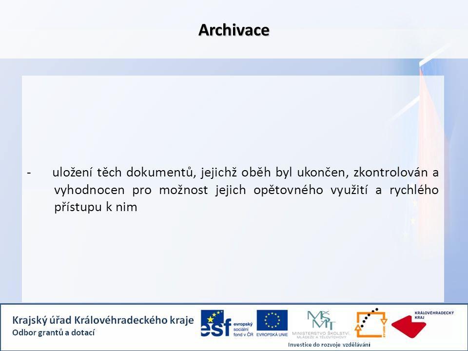 - uložení těch dokumentů, jejichž oběh byl ukončen, zkontrolován a vyhodnocen pro možnost jejich opětovného využití a rychlého přístupu k nimArchivace