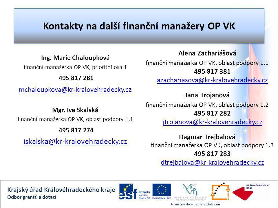 Kontakty na další finanční manažery OP VK Ing.