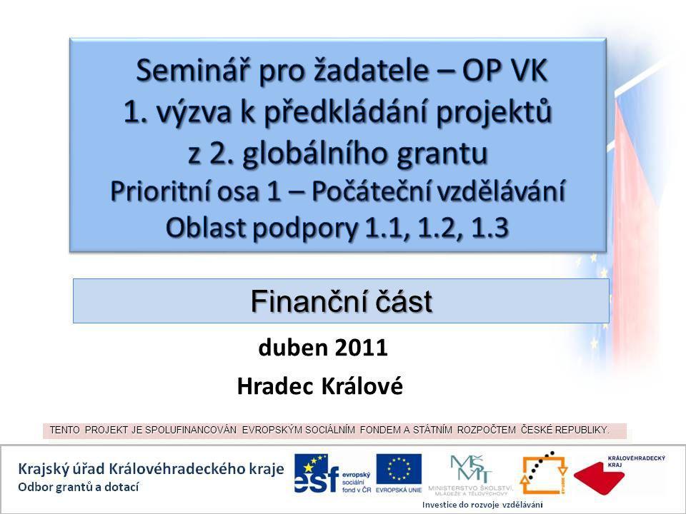 duben 2011 Hradec Králové TENTO PROJEKT JE SPOLUFINANCOVÁN EVROPSKÝM SOCIÁLNÍM FONDEM A STÁTNÍM ROZPOČTEM ČESKÉ REPUBLIKY.