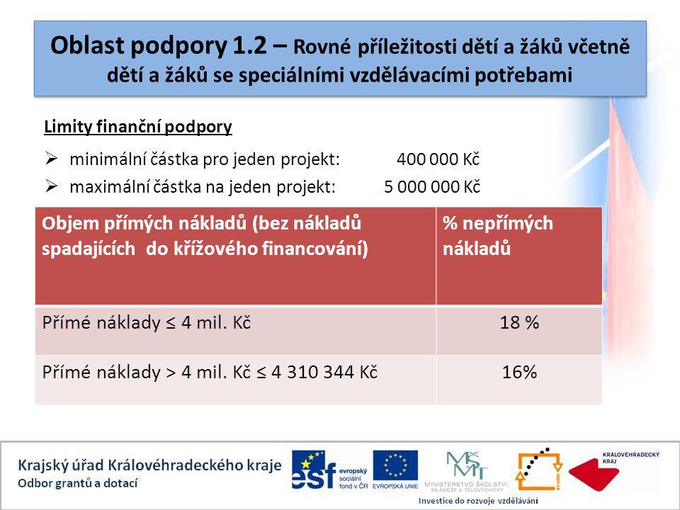 Oblast podpory 1.2 – Rovné příležitosti dětí a žáků včetně dětí a žáků se speciálními vzdělávacími potřebami Limity finanční podpory  minimální částka pro jeden projekt: 400 000 Kč  maximální částka na jeden projekt:5 000 000 Kč Objem přímých nákladů (bez nákladů spadajících do křížového financování) % nepřímých nákladů Přímé náklady ≤ 4 mil.