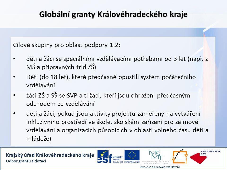 Globální granty Královéhradeckého kraje Cílové skupiny pro oblast podpory 1.2: děti a žáci se speciálními vzdělávacími potřebami od 3 let (např.